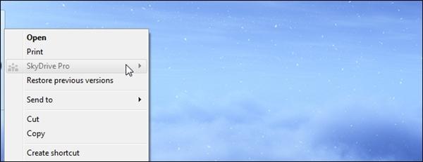 Xóa lệnh SkyDrive Pro trong menu chuột phải