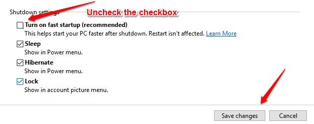 Sửa lỗi máy tính không tắt nguồn