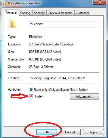 Cách ẩn file trong hệ điều hành win 7
