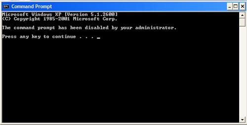 Cửa sổ lệnh CMD bị vô hiệu hóa