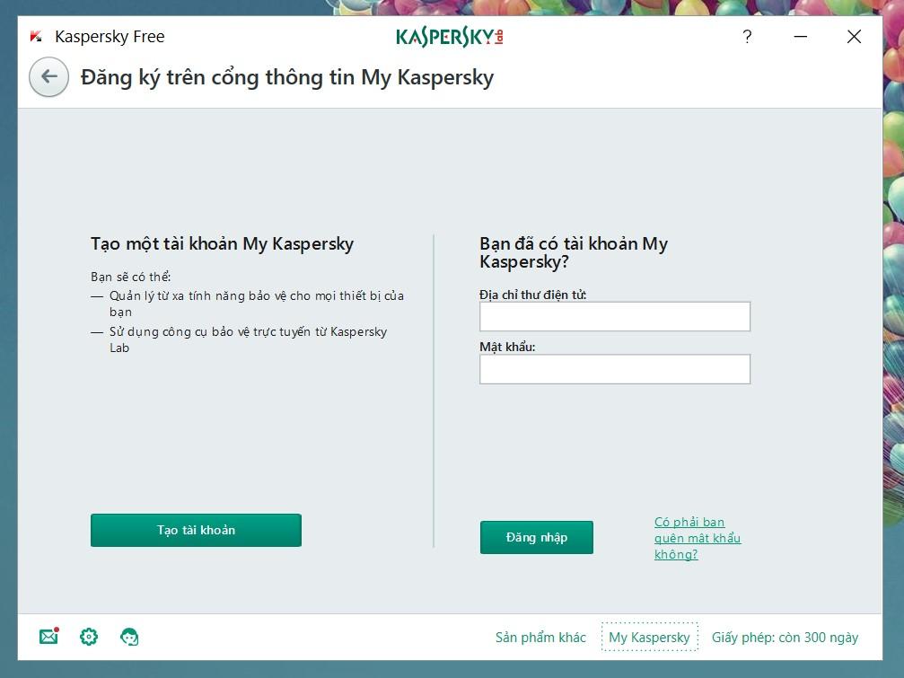 Đăng ký tài khoản Kaspersky