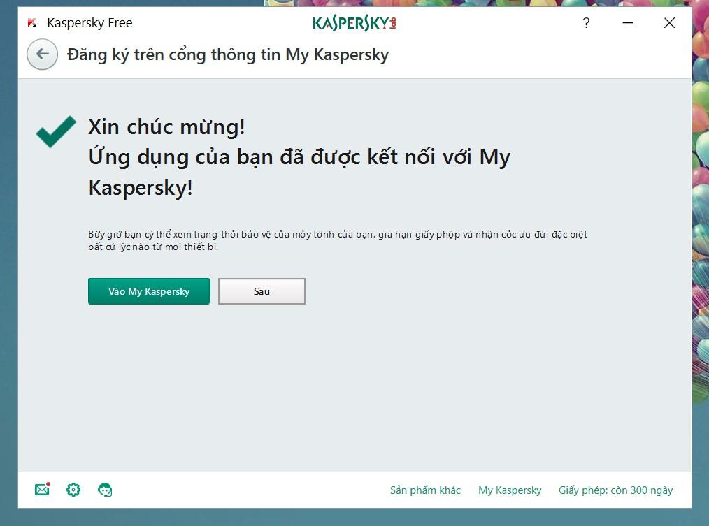 Tài khoản đăng nhaaoj Kaspersky