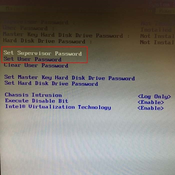 Đặt mật khẩu Bios