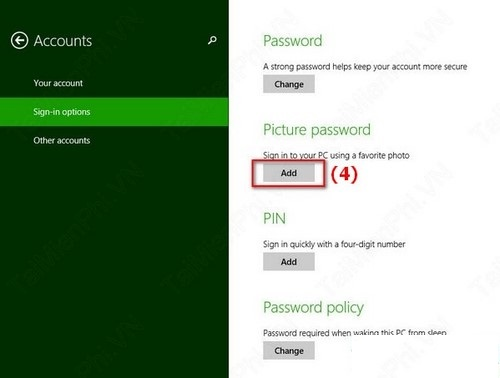 đặt password Windows 8