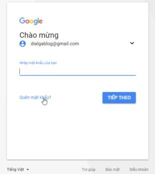 Cách lấy lại mật khẩu gmail