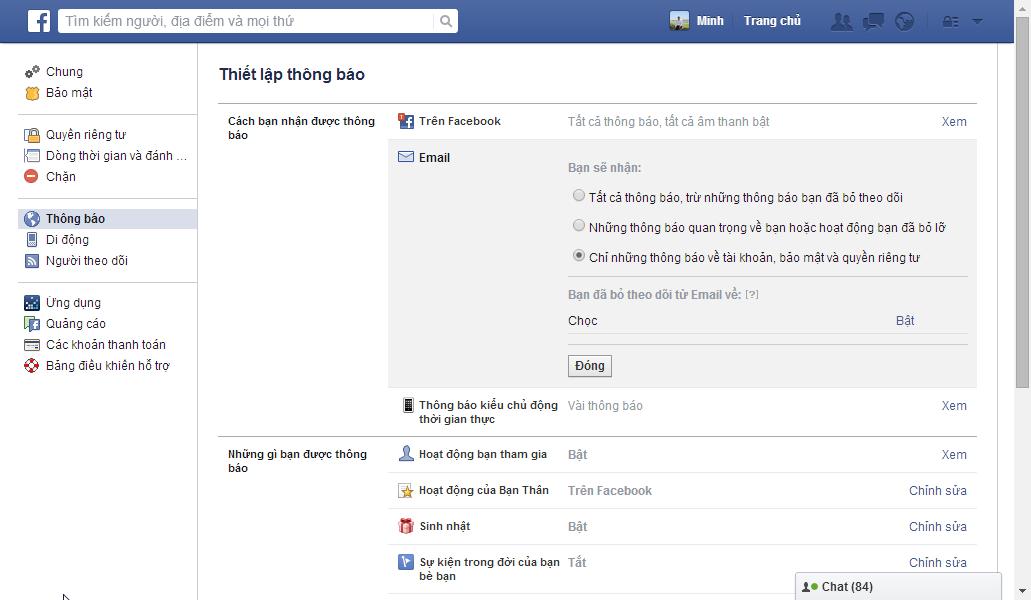 chặn mail facebook
