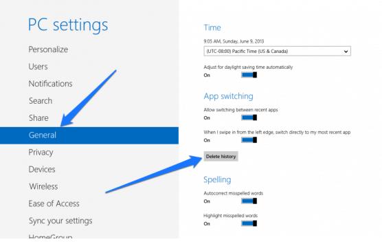 xóa bỏ lịch sử ứng dụng ở Windows 8