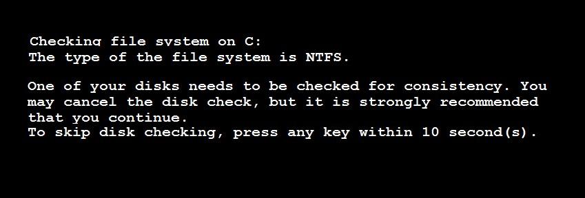 Máy tính báo lỗi cheking file system C