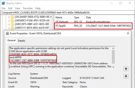 Xác định tác nhân gây lỗi DCOM 10016