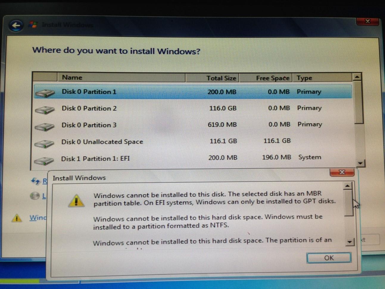 các lỗi trong quá trình cài đặt Windows