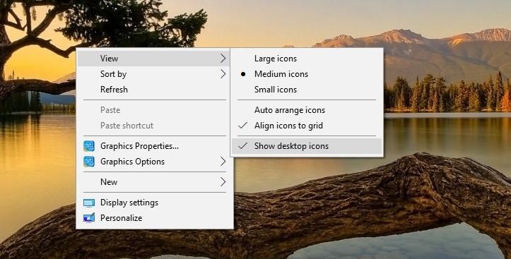 Sửa lỗi màn hình desktop bị mất biểu tượng_