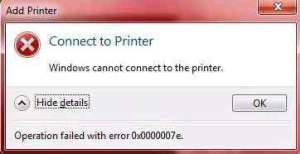 Máy tính báo lỗi window cannot connect to the printer