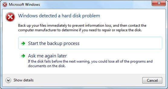 Thông báo lỗi windows detected a hard disk problem