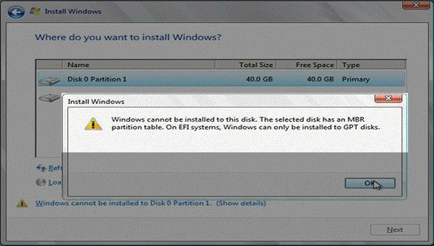 Lỗi windows cannot be installed  to this disk