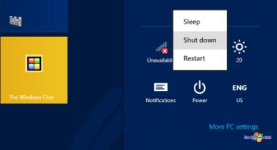 Các cách để tắt hoặc khởi động lại Windows 8