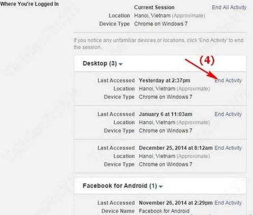 Hướng dẫn đăng xuất Facebook từ xa