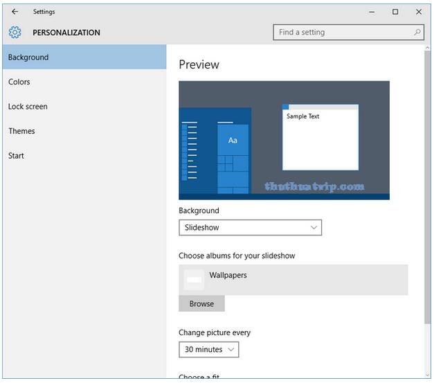 Hình nền tự động thay đổi trong Windows 10