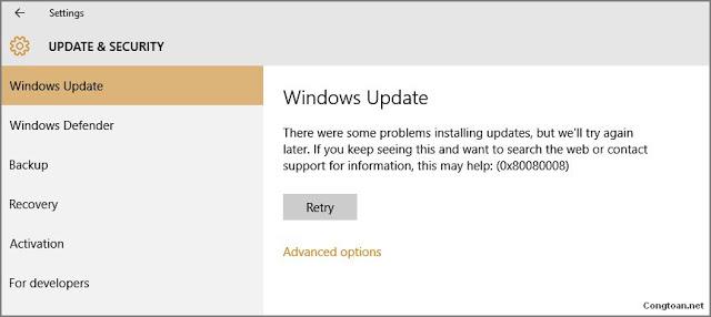 Hướng dẫn cách sửa lỗi Update error 0x8024a206 and 0x80080008 của Windows 10