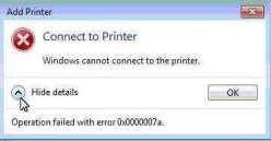 """Máy tính báo lỗi """"Windows cannot connect to the printer"""""""