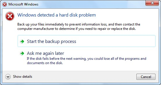 Fix lỗi Windows Detected A Hard Disk Problem