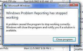 Thông báo lỗi windows problem reporting has stopped working