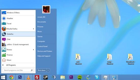 Tạo Start Menu Windows 8 bằng Toolbars