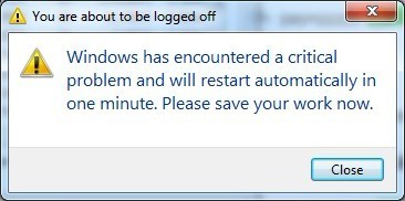 Khắc phục lỗi Windows has encountered a critical problem and will restart automatically in one minute