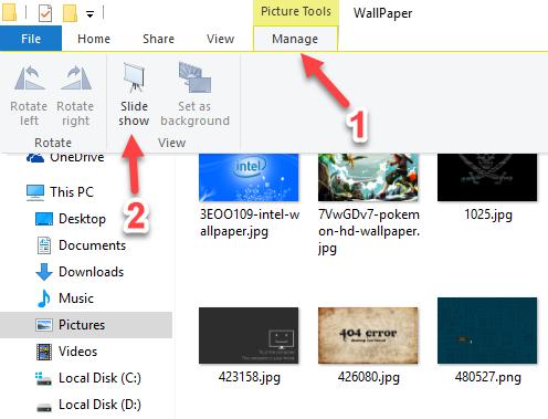 Chạy trình chiếu ảnh Slideshow trên Windows 10