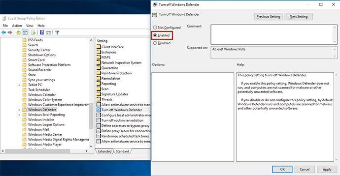 Tắt Windows Defender bằng Group Policy