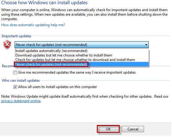 Hướng dẫn tắt Update trên Windows 7