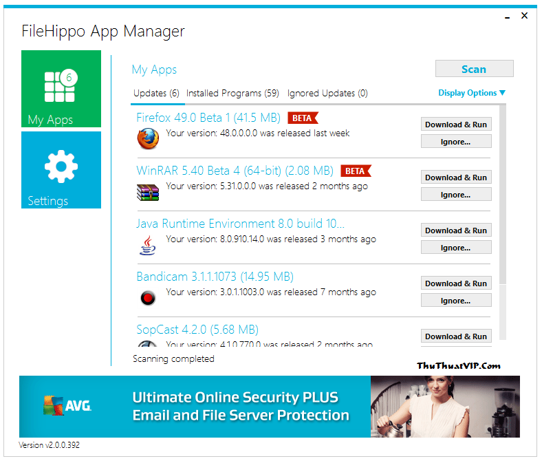Công cụ theo dõi phần mềm và thông báo phiên bản mới