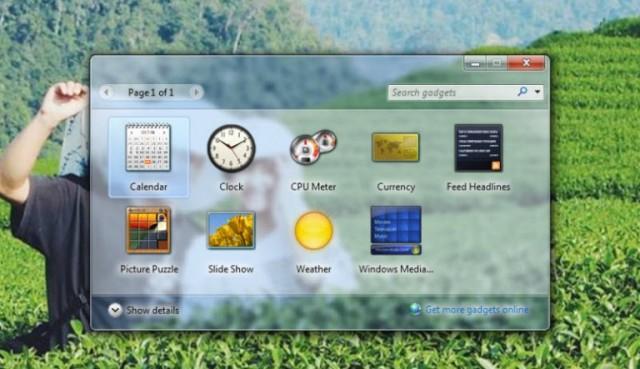 Tiện ích Gadgets trên máy tính Windows 7
