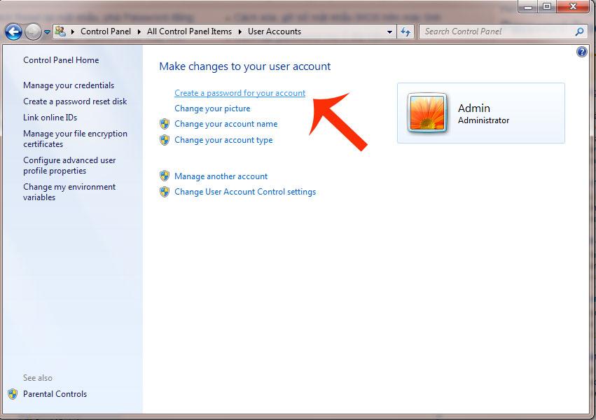 Hướng dẫn đặt password trong Windows 7