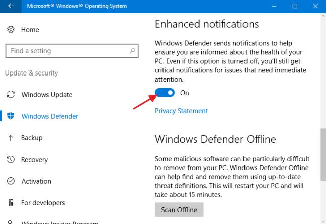 tắt thông báo Windows Defender Windows 10