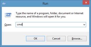 Vào menu Start hoặc Run nhập vào CMD